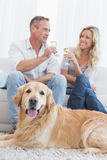 Couple drinking champagne with their dog in front of them Stock Image