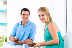 Couple drinking coffee Stock Image