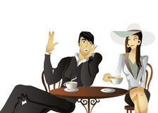 Couple drinking coffee on a date. Vector illustration of a couple drinking tea (or coffee) in a Café Bar. Man wearing a black siut talks to a fashionable lady Stock Image