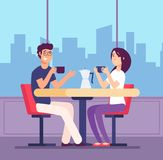 Couple drinking coffee. Flirting woman and man at table with coffe cups in cafe. Romantic date vector concept. Illustration of drink coffee in cafe vector illustration