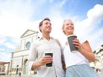 Couple drinking coffee happy stock image