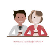 Couple Drinking Coffee. Couple man and woman drinking coffee in a cafe talking and smiling. Love and date concept. Image with the phrase - Happiness is a cup of Stock Photo
