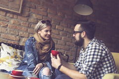 Couple drinking coffee Stock Photography