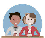 Couple Drinking Coffee. Young couple talking and drinking coffee or tea in a cafe. Man and woman enjoying a conversation together. Lovers hugging and smiling stock illustration