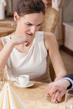 Couple drinking espresso in restaurant Stock Photography