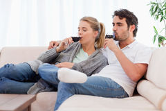 Couple drinking a glass of wine Royalty Free Stock Photos