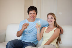 Couple drinking a glass of wine Royalty Free Stock Image