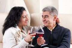 Couple Drinking A Glass Of Wine Stock Photo