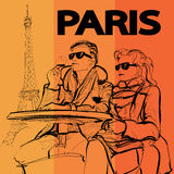 Couple drinking a glass of wine near the Eiffel tower in Paris. Vector illustration Stock Photo