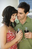 Couple Drinking Red Wine Stock Image