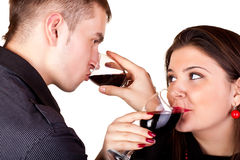 Couple drinking red wine Royalty Free Stock Photo