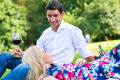 Couple drinking red wine on grass of park Stock Photography