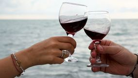 Couple drinking red wine at the seaside, romantic date, spending time together. Stock footage stock video footage