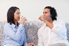 Couple drinking sparkling wine in the living room Stock Images