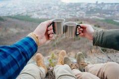 Couple drinking tea outdoor Stock Photo