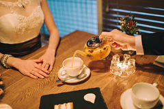 couple drinking tea at the table stock photos