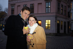 Couple drinking tea in winter Royalty Free Stock Photography