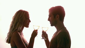 Couple drinking together against sunlight Stock Images