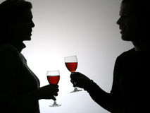 Couple drinking vine Stock Photography