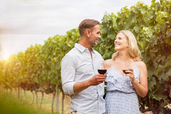 Couple drinking in vineyard. Senior couple drinking red wine in grape vineyard. Romantic mature couple looking each other and toasting with wine glasses at Royalty Free Stock Image