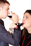Couple drinking wine Stock Image