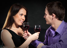 Couple drinking wine Stock Photo