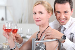 Couple drinking wine Stock Photography