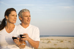 Couple Drinking Wine on Beach Royalty Free Stock Photos