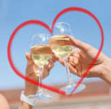 Couple drinking wine in cafe Stock Photo