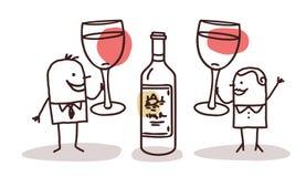 Couple drinking wine. Illustration vector illustration