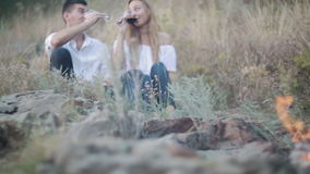Couple Drinking Wine At Nature stock video