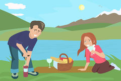Couple drinking wine at picnic. Funny colorful vector cartoon illustration Stock Photos
