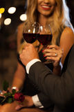 Couple drinking wine after proposal Stock Images