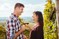 Couple drinking wine in a vineyard Royalty Free Stock Photography