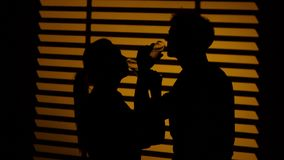 Couple drinking wine from wine glasses brotherhood. Silhouette. Close up stock footage