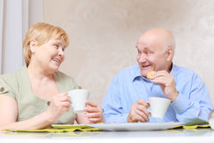 Couple drinks tea at home Stock Photography