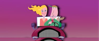 Couple drive in car Royalty Free Stock Photography