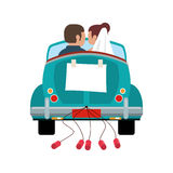 Couple driver car just married Stock Photos