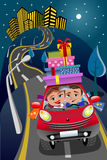 Couple Driving Car Gift Boxes Downtown Night Royalty Free Stock Photo