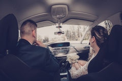 Couple is driving in the car Royalty Free Stock Photo