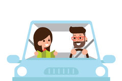 Couple driving car. Couple driving car with map, flat design cartoon Royalty Free Stock Photography