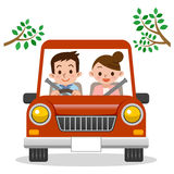Couple driving in car Royalty Free Stock Photos
