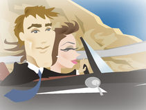 Couple driving illustration Royalty Free Stock Photos