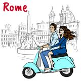 Couple driving scooter in Rome. Piazza Navona Royalty Free Stock Image