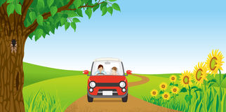 Couple driving in Summer nature royalty free illustration