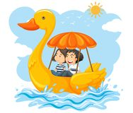 Couple on a duck boat Royalty Free Stock Photo