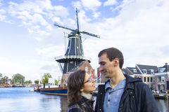 Couple in Dutch town of Haarlem, the Netherlands. Young couple in Dutch town of Haarlem, the Netherlands Royalty Free Stock Photo