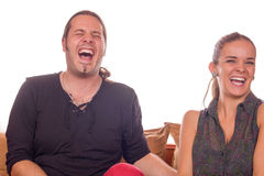 Couple dying of laughter. Adult couple dying of laughter because of joke Stock Photos
