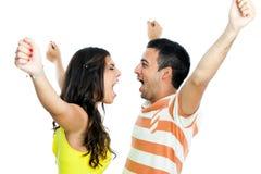 couple each other shouting στοκ εικόνες