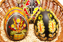 Couple Easter eggs in a basket Stock Photo